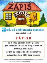 Zobrazit detail akce: Zápis do 1. třídy MŠ, ZŠ a SŠ Slezské diakonie
